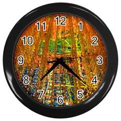 Circuit Board Pattern Wall Clocks (Black)
