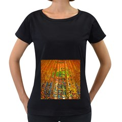 Circuit Board Pattern Women s Loose Fit T Shirt (black)