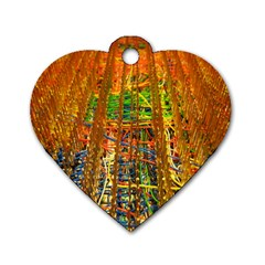 Circuit Board Pattern Dog Tag Heart (One Side)