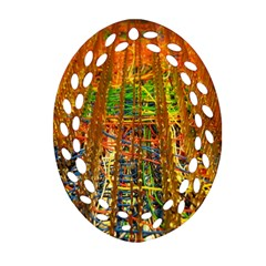 Circuit Board Pattern Oval Filigree Ornament (Two Sides)