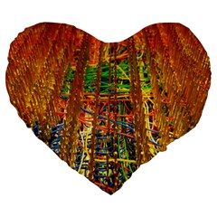 Circuit Board Pattern Large 19  Premium Heart Shape Cushions
