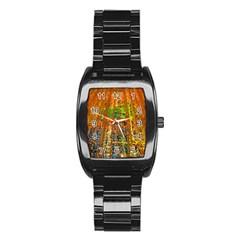 Circuit Board Pattern Stainless Steel Barrel Watch