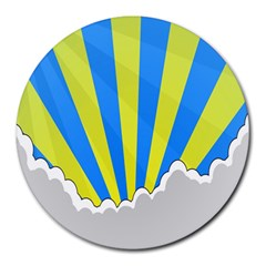Sunlight Clouds Blue Sky Yellow White Round Mousepads