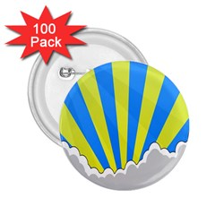 Sunlight Clouds Blue Sky Yellow White 2.25  Buttons (100 pack)