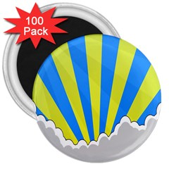 Sunlight Clouds Blue Sky Yellow White 3  Magnets (100 pack)