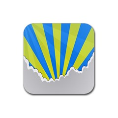 Sunlight Clouds Blue Sky Yellow White Rubber Coaster (square)