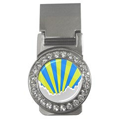 Sunlight Clouds Blue Sky Yellow White Money Clips (cz)