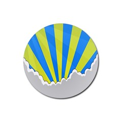 Sunlight Clouds Blue Sky Yellow White Rubber Round Coaster (4 pack)