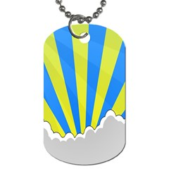 Sunlight Clouds Blue Sky Yellow White Dog Tag (two Sides)