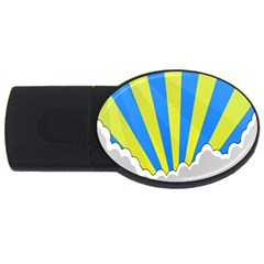 Sunlight Clouds Blue Sky Yellow White Usb Flash Drive Oval (2 Gb)