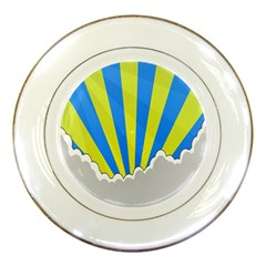 Sunlight Clouds Blue Sky Yellow White Porcelain Plates