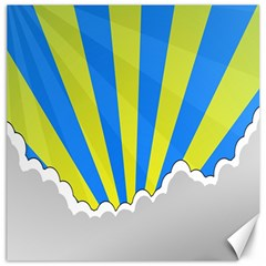 Sunlight Clouds Blue Sky Yellow White Canvas 20  X 20
