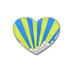 Sunlight Clouds Blue Sky Yellow White Heart Coaster (4 pack)