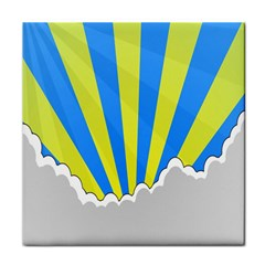Sunlight Clouds Blue Sky Yellow White Face Towel