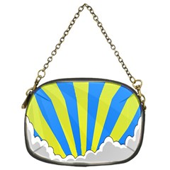 Sunlight Clouds Blue Sky Yellow White Chain Purses (One Side)