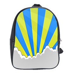 Sunlight Clouds Blue Sky Yellow White School Bags(Large)