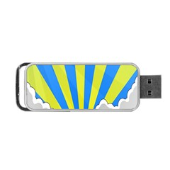 Sunlight Clouds Blue Sky Yellow White Portable USB Flash (One Side)