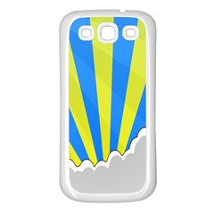 Sunlight Clouds Blue Sky Yellow White Samsung Galaxy S3 Back Case (White)