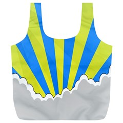 Sunlight Clouds Blue Sky Yellow White Full Print Recycle Bags (L)