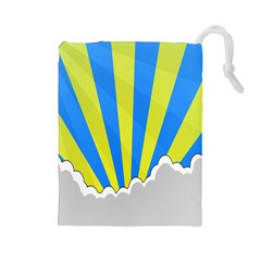Sunlight Clouds Blue Sky Yellow White Drawstring Pouches (Large)