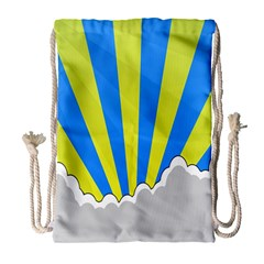 Sunlight Clouds Blue Sky Yellow White Drawstring Bag (Large)