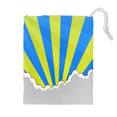 Sunlight Clouds Blue Sky Yellow White Drawstring Pouches (Extra Large)
