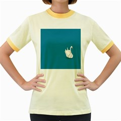 Swan Animals Swim Blue Water Women s Fitted Ringer T Shirts