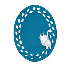 Swan Animals Swim Blue Water Ornament (Oval Filigree)
