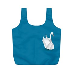 Swan Animals Swim Blue Water Full Print Recycle Bags (M)