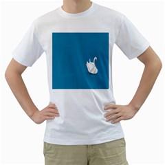 Swan Animals Swim Blue Water Men s T-Shirt (White)