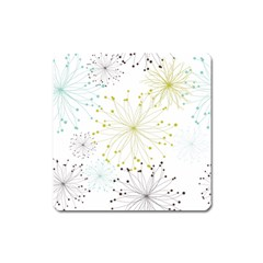 Retro Floral Flower Seamless Gold Blue Brown Square Magnet