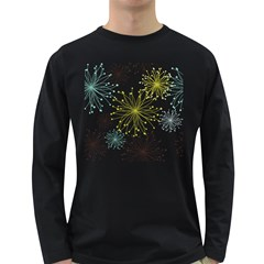 Retro Floral Flower Seamless Gold Blue Brown Long Sleeve Dark T Shirts