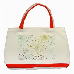 Retro Floral Flower Seamless Gold Blue Brown Classic Tote Bag (Red)