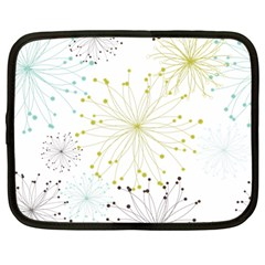 Retro Floral Flower Seamless Gold Blue Brown Netbook Case (Large)