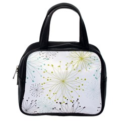 Retro Floral Flower Seamless Gold Blue Brown Classic Handbags (one Side)