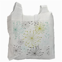 Retro Floral Flower Seamless Gold Blue Brown Recycle Bag (One Side)