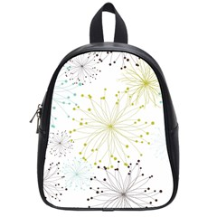Retro Floral Flower Seamless Gold Blue Brown School Bags (Small)