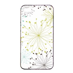 Retro Floral Flower Seamless Gold Blue Brown Apple iPhone 4/4s Seamless Case (Black)