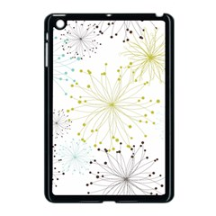 Retro Floral Flower Seamless Gold Blue Brown Apple iPad Mini Case (Black)