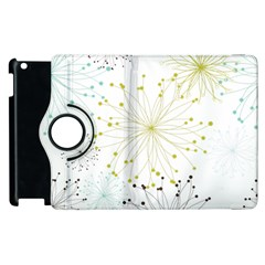 Retro Floral Flower Seamless Gold Blue Brown Apple iPad 2 Flip 360 Case