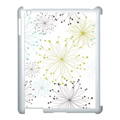 Retro Floral Flower Seamless Gold Blue Brown Apple iPad 3/4 Case (White)