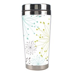 Retro Floral Flower Seamless Gold Blue Brown Stainless Steel Travel Tumblers