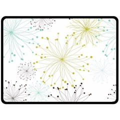 Retro Floral Flower Seamless Gold Blue Brown Double Sided Fleece Blanket (Large)