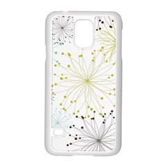 Retro Floral Flower Seamless Gold Blue Brown Samsung Galaxy S5 Case (White)