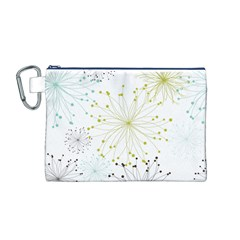 Retro Floral Flower Seamless Gold Blue Brown Canvas Cosmetic Bag (M)