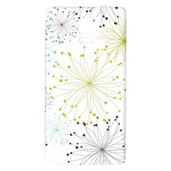 Retro Floral Flower Seamless Gold Blue Brown Galaxy Note 4 Back Case