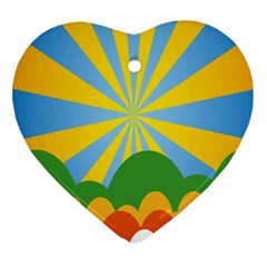 Sunlight Clouds Blue Yellow Green Orange White Sky Ornament (heart)