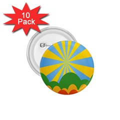 Sunlight Clouds Blue Yellow Green Orange White Sky 1 75  Buttons (10 Pack)