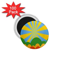 Sunlight Clouds Blue Yellow Green Orange White Sky 1 75  Magnets (100 Pack)