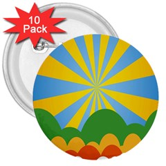 Sunlight Clouds Blue Yellow Green Orange White Sky 3  Buttons (10 Pack)
